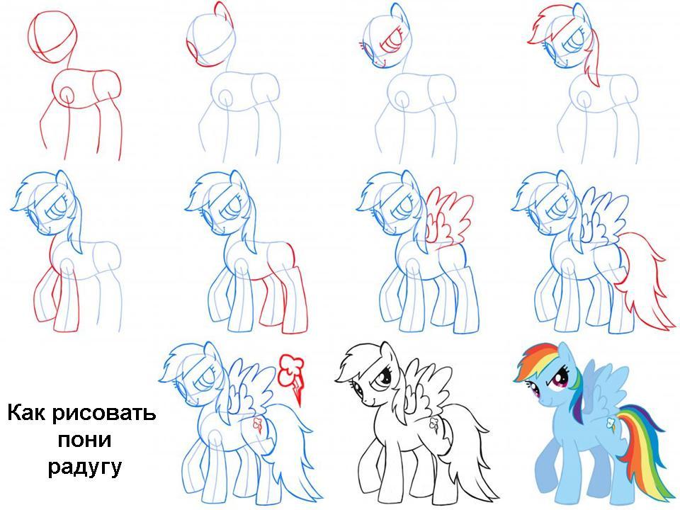 Как нарисовать пони Радугу