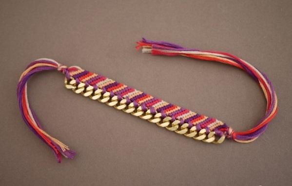 Как сделать фенечку с цепочкой