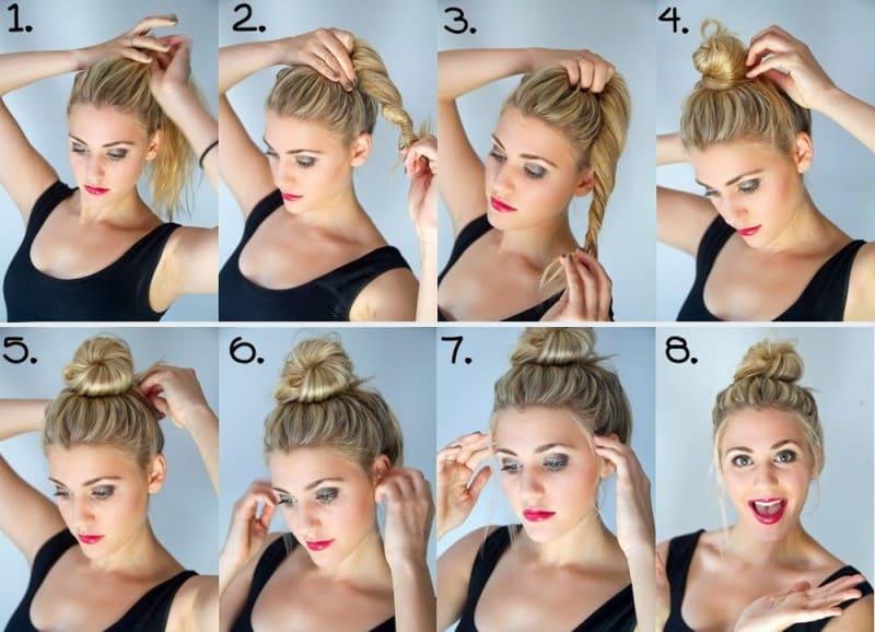 Как из волос сделать пучок?