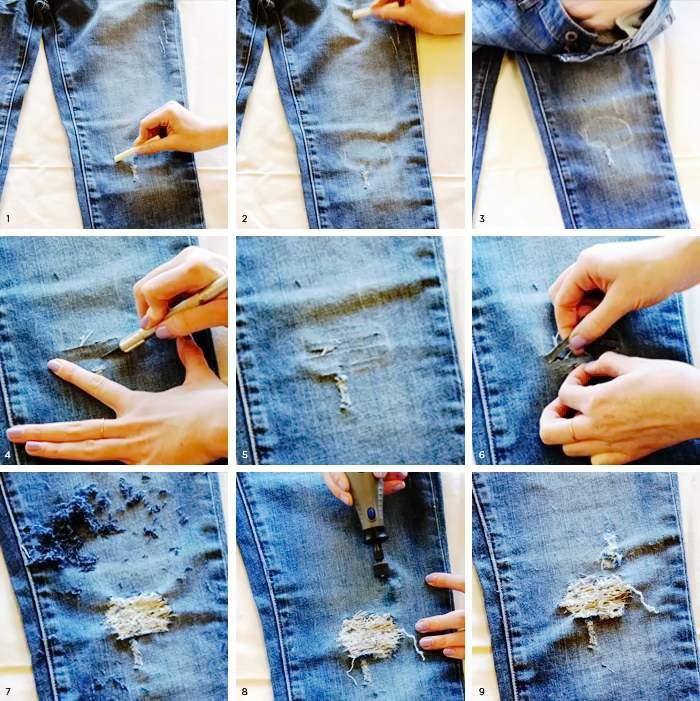 Как сделать на джинсах дырки?