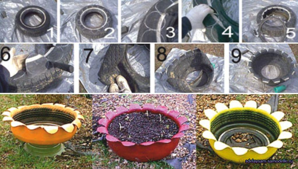 Как сделать вазу из покрышки?