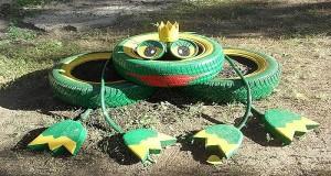 Как сделать лягушку из шин?