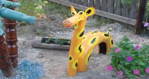 Как сделать жирафа из шины?
