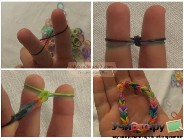 Как плести из резиночек браслет на пальцах
