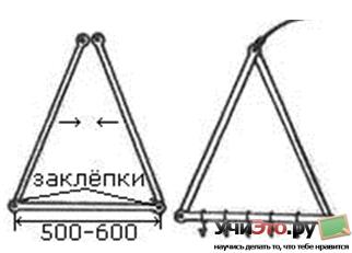 Кукан для рыбы в форме треугольника