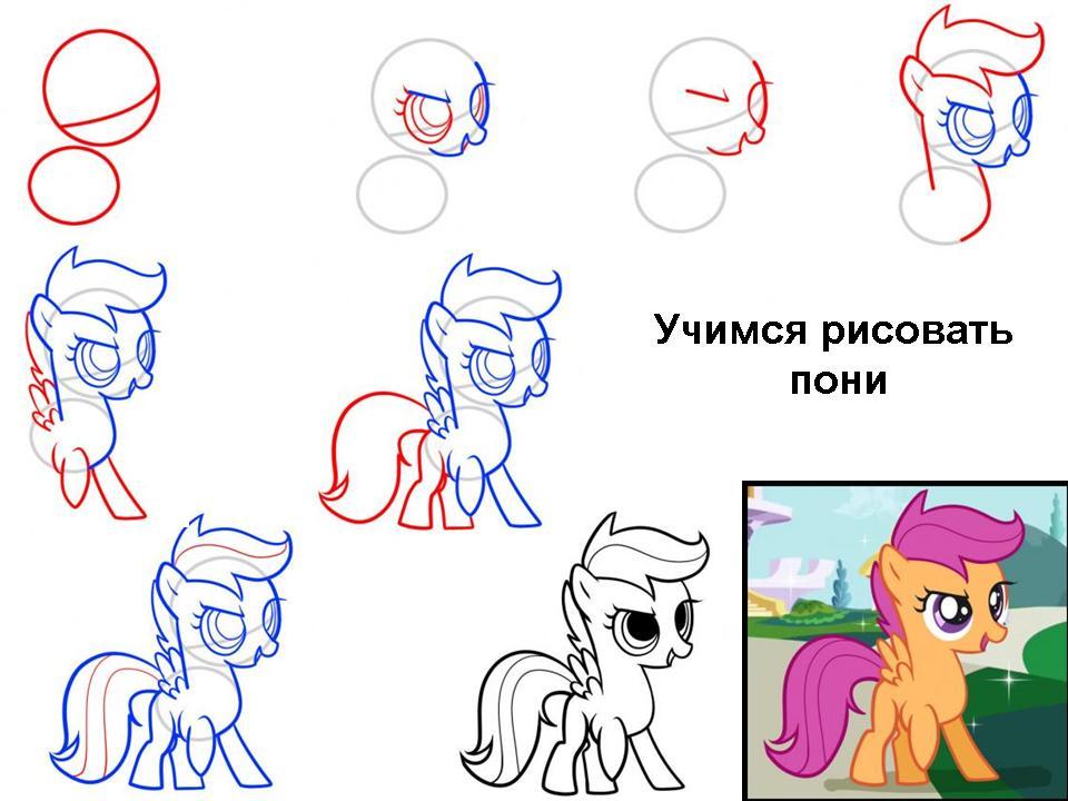 Учимся рисовать пони
