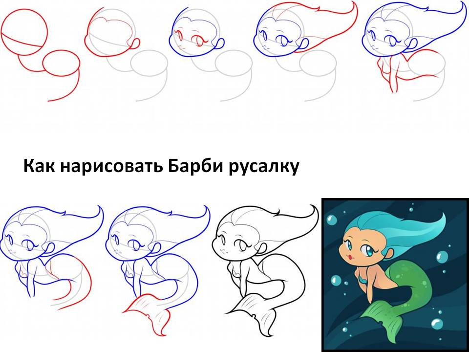 Как ребенку нарисовать русалку?
